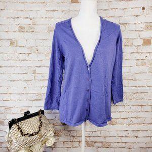 Chicos 1(M/8) Purple Cardigan 3/4 Sleeve Sweater
